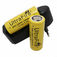 2X 26650 Li-ion Batterie 12800mAh 3.7V Rechargeable for Flashlight & EU Charger