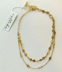 "13""+2.5"" Ettika Gold-Tone Two-Strand Necklace with Kite-Shape Discs & Rhinestone"