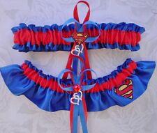 Superman Logo SATIN Fabric Jewel Wedding Garter Set Prom Dbl. Heart Charm