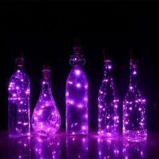 6X Purple LED Cork with 20 Lights on a String Bottle Stopper Lamp Light Wedding