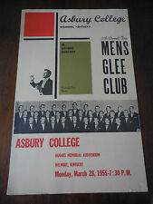 1955 Mens Glee Club Poster Asbury College Wilmore Kentucky Original Vintage