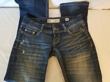 BKE Womens Stella Dark Wash Distressed Slim Thick Embroidered Jeans Sz 26R 30x31