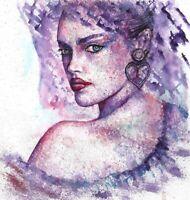 Abstract face Women painting original watercolour art 8 x 8 inch