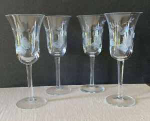 4 Toscany Wine Glasses Etched Butterfly & Floral Pattern Barware Hand Blown