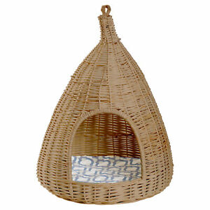 New Natural Willow Pet Sleeping Bed, Cave, Basket For Dog or Cats with Cushion