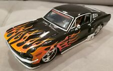MAISTO - 1967 FORD MUSTANG GT - BLACK WITH FLAMES - 1:24 DIECAST METAL
