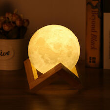 USB Rechargeable 3D Printing Moon Lunar LED Night Light Stand Lamp Touch Sensor