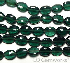 "7"" EMERALD GREEN QUARTZ 10-14mm Faceted Oval Beads /Q4"