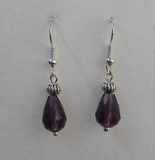 SMALL FACETED AMETHYST PURPLE GLASS DROP EARRINGS WITH SILVER PLATED DETAIL.HOOK