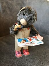 Vintage ALPS Clockwork Tinplate Cubby the Reading Bear Japan Working ish