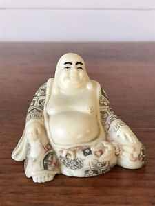 Vintage Resin Laughing Happy Buddha Carved Figurine Miniature Ornament