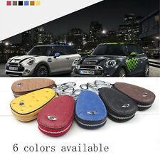 Ostrich Leather Key Fob Case Key Chain Holder Cover Key Ring For Mini Cooper