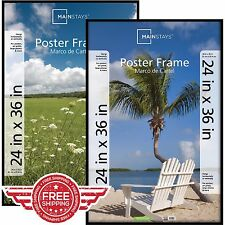 "Set of 2 Wall Basic Poster Picture Frame Decor Size 24""x36"" Modern Artwork Black"