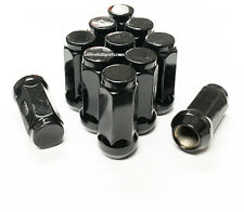 "(20) 9/16-18 BLACK ACORN LUG NUTS 1.96"" TALL DODGE FORD CHEVY TRUCK 3/4 HEX 19MM"