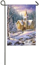 Winter Chapel Snow Deer Creek Pine Trees Sm Garden Flag