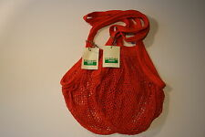 2 x String/net Shopping Bags made from recycled unbleached cotton,Long Handles