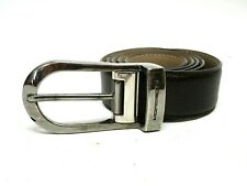 Moreschi Brown Leather Belt Size 32 With Silver Buckle Made In Italy