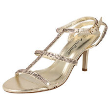 Ladies Diamante Ankle Strap Shoes Anne Michelle F10300 UK 5 Champagne/gold