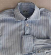"Mens blue cotton cufflink shirt Osborne collar size 15.5"" herringbone twill VGC"