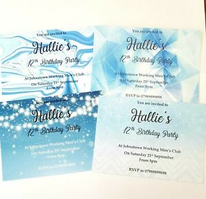 Girls personalised birthday party invitation Blue glitter geo marble 12 8th 13th