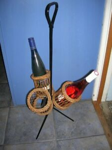 SALEVintage 1920's-30's Unusual 3-bottle WINE CARRIER Iron & Wicker Picnic Party