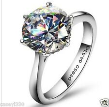 4 CT ROUND SOLITAIRE VINTAGE SYNTHETIC SONA DIAMOND ENGAGEMENT RING SILVER
