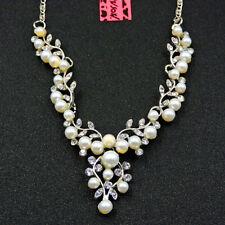 Betsey Johnson White Crystal Pearl Flower Woman Pendant Choker Chain Necklace