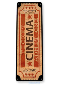 Admit One Movie Ticket Sign, Carnival Cinema Sign Movie Theater Tin Sign D181
