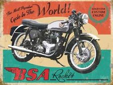 BSA Rocket Motorcycle, Gold Star Engine Vintage, Large Metal Tin Sign