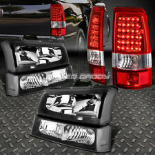 BLACK HEADLIGHT+CLEAR BUMPER+CHROME RED LED TAIL LIGHT FOR 03-07 CHEVY SILVERADO
