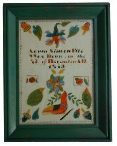 AAFA Dated 1863 Folk Art Country Primitive Fraktur Dauphin County PA