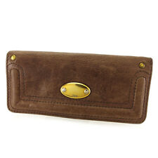 Chloe Wallet Purse Long Wallet Brown Woman unisex Authentic Used P590