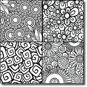 """A1 Set of 4 designs,Colouring In Peel & Stick Canvas,6""""x6""""ea,Wall Decor,Wall Art"""