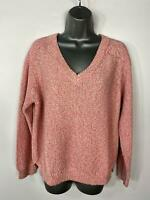 WOMENS PER UNA MARKS&SPENCER PINK V NECK KNITTED JUMPER SWEATER PULL OVER LARGE
