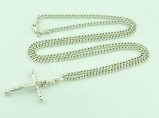 7.70 gram 18k white gold curb link chain necklace crucifix cross 20 inches #5263
