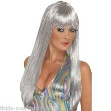 Women's 70's Glitter Disco Wig Long Straight Fun Fancy Dress Fever Pop Star Gaga