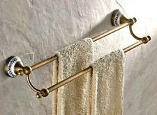 Antique Brass Towel Rack Bathroom Accessories Double Towel Bar Holder qba407