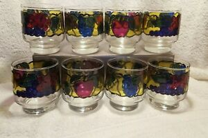 Set of 8 LIBBEY Embossed Stained Glass Fruit Juice / Low Ball Glasses  8 oz EUC