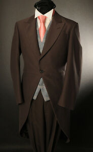 MEN'S CHOCOLATE BROWN 2PC MORNING TAIL SUIT IDEAL FOR ASCOT/WEDDING/SALE MJ-2