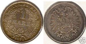 Kaiserreich 1 Mark 1874 E  prägefrisch bis stempelglanz