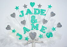 Wedding, Engagment Personalised Handmade double name Heart Feather Cake Topper.