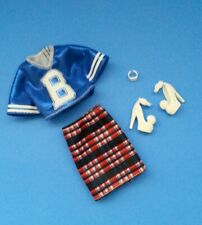 Barbie Clothing - Varsity Top & Plaid Skirt & White Heels Shoes & Watch