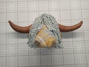 Highland Cow Head For Wall Mounting HARRIS TWEED TARTAN!!