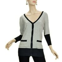 NWT UNIQUISM Black Gray 3/4 Sleeve Cardigan Sweater Pocket Knitted Top S M L XL