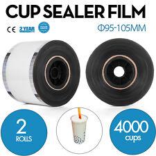 2 Rolls Cup Sealer Sealing Film 2* 4000cups Φ95-105mm Tasteless Pet Food Use