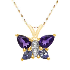 Amethyst,Tanzanite & Cubic Zirconia Butterfly Necklace 10K Solid Yellow Gold