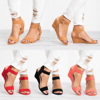 Women Gladiator Platform Sandals Peep Toe Wedge High Heel Chunky Shoes Summer