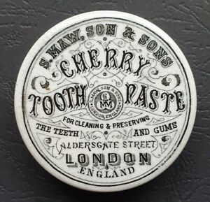 VINTAGE cherry tooth paste printed pot lid S.MAW,SON & SONS Londonc1910s