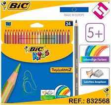 PACK DE 24 LAPICES BIC KIDS COLORES TROPICALES MULTICOLOR TROPICOLORS COLOREAR