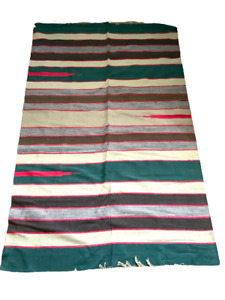 Handwoven Cotton Stripe Dhurrie Rug India 120 x 180cm  4ft x 6ft  Teal Blue Red